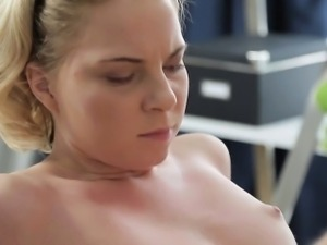 Delighting gorgeous girl with massage