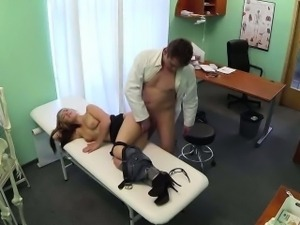 Sexy blonde patient getting fucked hard by her doctor