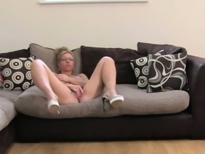 British blonde with glasses on casting fucking