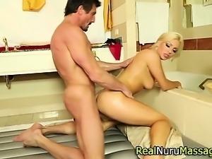 Hot nuru masseuse fucks