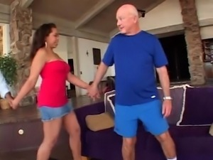 Sexy brunette with tight perky tits wraps her lips and pussy around a hard cock