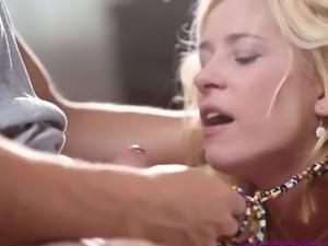 Sexy blonde deep sucking fat cock