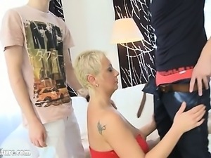 Blonde Mom sucks two young skinny boys with big cocks