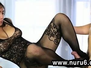 Asian schlong masseuse in nylons