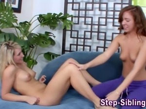 Cute stepsisblings lick each other