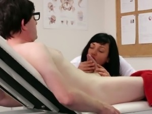 Brunette nurse Eden James gives great head