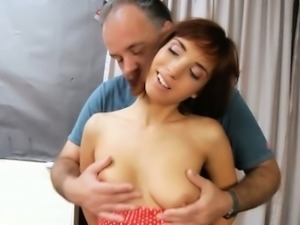 Young redhead sucking old dick