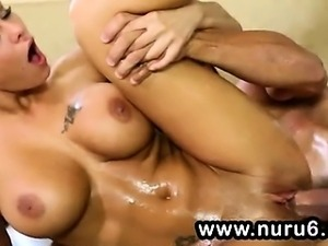 Busty masseuse works in the bathroom