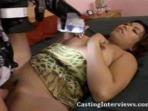 Latina slut is ready for her cunt to be blasted