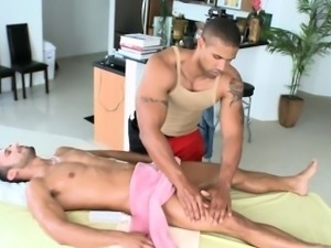 Hairy fellow gets a lusty anal spooning from masseur
