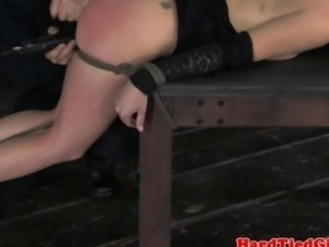 BDSM sub Veruca James clit stimulated
