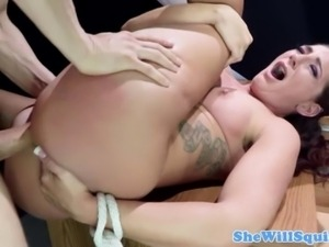 BDSM brunette gusher giving pussy to her master