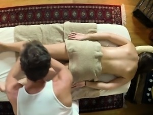 Teen babe rubbed down