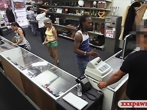 Hot girl pawned at the pawnshop by her black BF for cash
