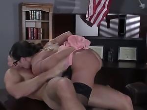Glassed sexy MILF Ariella Ferrera gets humped by Johnny Sins