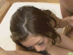 MILF Meisa gets a japanese creampie in a threesome