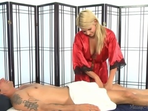 laela gives alan a hot and slippery massage