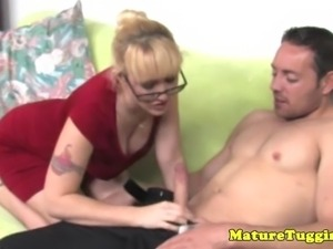 Blonde spex cougar handing his rod