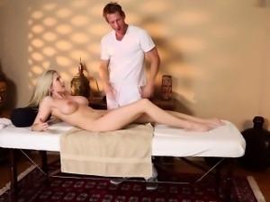 Hot blonde sucks masseur