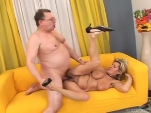 granny loves sucking fat guy's cock