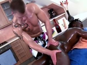 Interracial stud massage