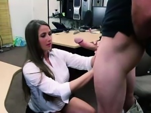 MILF giving a big cock a blowjob for pawn shop cash