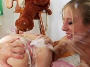 Milk squirting loving lesbian