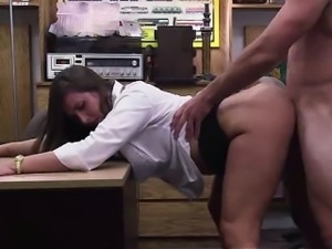 Hot amateur MILF fucked for cash in pawn shop office