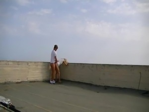 Fucking wife at the top of a skyscraper