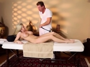 Teen gobbles masseur cock