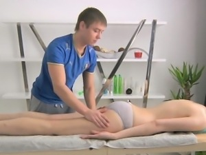 Beauty is playing with her cookie during carnal oil massage