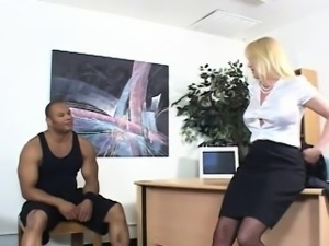 Sexy Blonde MILF Fucks A Big Black Dick In Her Office!