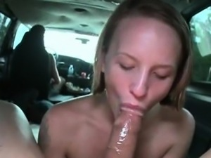 Skinny blonde pussy banged from behind in POV