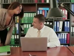 Classy secretary Alexis Brill fucks her boss