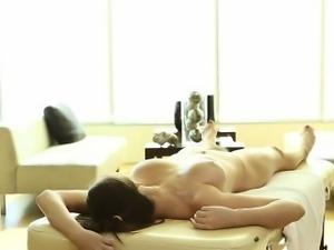 Gorgeous Brunette Amateur Face Fucked On Masage Table
