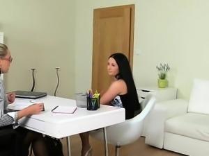 Euro lesbian brunette student fingered on casting