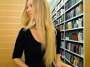 Pretty Teen GF Plays With Herself In Library