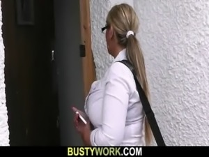 Busty salesgirl gets boned from behind free