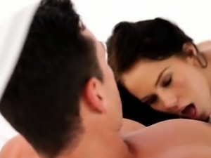 Raven haired babe Megan Rain gets caught masturbating and