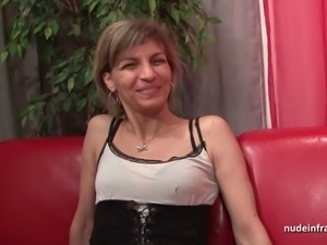 Casting of squirt mom in stocking hard sodomized in threeway