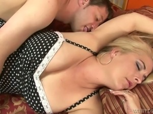 Horny hubby tries to wake his chubby blond chick up