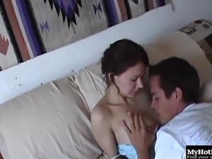 Brunette unpinning jeans then ravished hardcore in couple amateur porn
