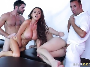 Brunette Dani Daniels with big jugs takes Keiran Lees cum loaded sausage in...