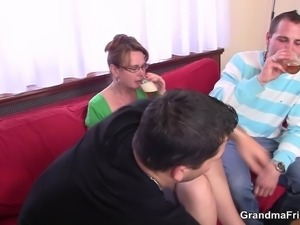 Hot anal and oral mature double penetration