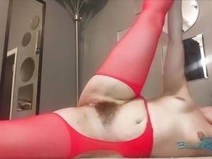 Red Suspender Pantyhose Booty Shaking