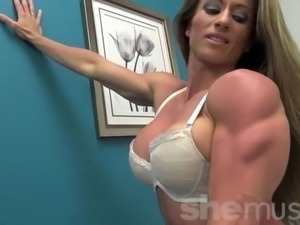 Sexy Muscular Latina in White Lingerie
