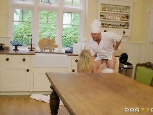 sexy blonde cutie fucked hard by the chef in the kitchen