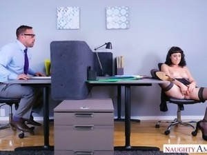 Shameless secretary masturbates pussy in the presence of co-worker