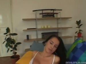 Gorgeous big tittied brunette Laura Lion pleasures her kinky man with solid...