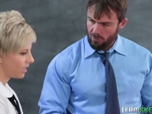 Makenna stays after class to talk to her teacher. She's wanting to fuck him,...